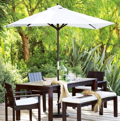 West Elm Wood Slat Dining Collection Outdoor Umbrella Outdoor